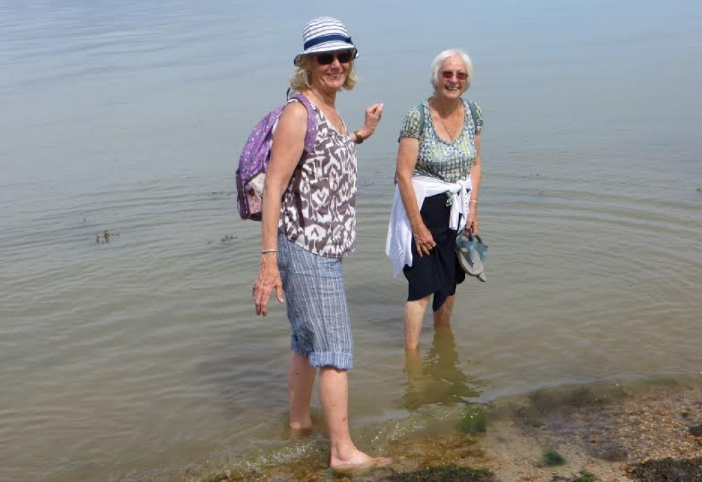 Marion and friend take a refreshing paddle at Osborne House beach