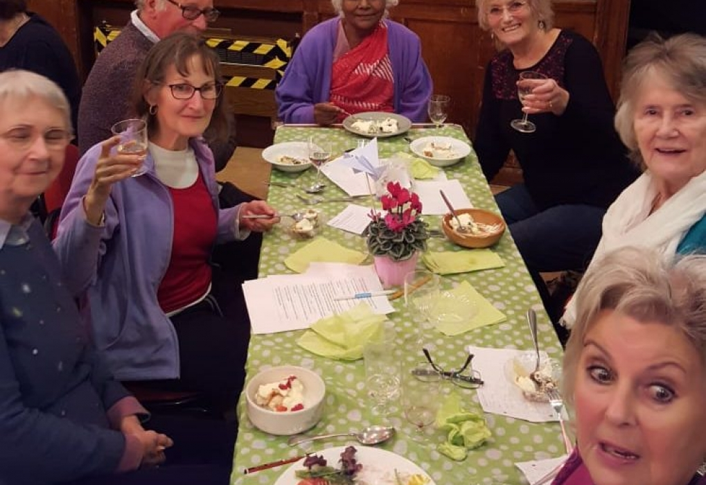 Sathi, Pat, Linda Sunita and friends at the January party