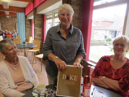 Carol with raffle prize